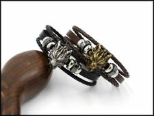 Wolf Head Bangle Mens Multilayer Braided Leather Cuff Bracelet Punk Wristband