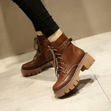 Punk Womens Ankle Boots Lace Up Buckle Retro Combat Motor Shoes Round Toe Casual