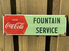 VINTAGE COCA COLA PORCELAIN METAL SIGN USA FOUNTAIN SERVICE SODA POP ADVERTISING