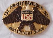 New Vtg. Harley Davidson Belt Buckle Raintree - Heavyweight Champ