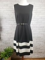 Calvin Klein dress size 10 sleeveless black white bands hemline box pleat skirt