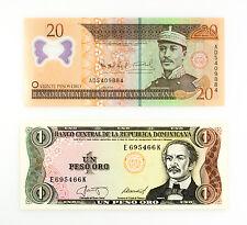 Set of 2 different Dominican Republic 1 Peso 1984  and 20 Pesos 2009 Au-Unc.