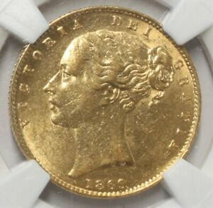 1869 Great Britain Gold 1 Sovereign AU 55 NGC 842I