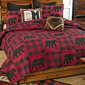 BLACK BEAR RED BUFFALO CHECKS Full / Queen QUILT SET : LODGE CABIN PLAID COUNTRY
