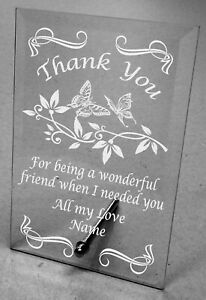 Plain / Engraved Personalised Glass Plaque Thank You Gift appreciation  4 sizes