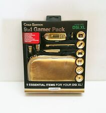 New Gold dreamGEAR Nintendo DSi XL 9 in 1 Starter Kit Case Stylus Earbuds