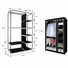 Double Canvas Wardrobe Cupboard Clothes Hanging Rail Storage Shelves Foldable