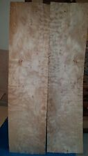 """2 buckled pieces quilted maple wood veneer 31"""" x 9 1/16"""" guitar 1/42"""" Luthier"""