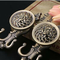 2Pcs Rose Flower Curtain Tie Back Tieback Holders Wall Hooks Home Decoration S