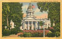 Linen Postcard CA E349 Cancel 1949 Fresno County Court House Fresno California
