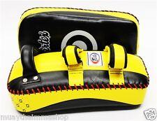 GENUINE FAIRTEX MUAYTHAI Standard Curved Kick Pads Yellow/Black Limited