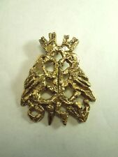 Vintage Peace Two Dove Gold Tone Pin - Carved Look & Signed on Back