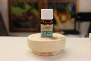 BIO Zirbenöl 10 ml 100% naturrein mit Tropfschale aus echtem Zirbenholz