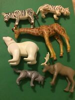 Playmobile Animals Lot Moveable Toys Zebra, Wolf Polar Bear Giraffe 6 Pieces PM1