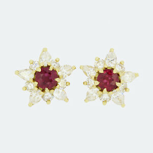 Tiffany & Co. Ruby and Diamond Cluster Earrings 18ct Yellow Gold