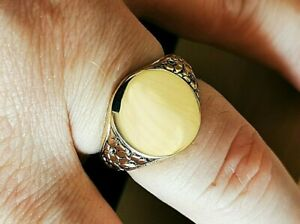 Retro, Solid Gold Signet Ring, Hallmarked 9ct gold. Free Insured P&P #Mz