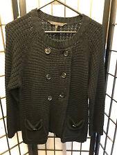 BCBG Maxazria Black Long Sleeve Button Front Sweater L Large B18