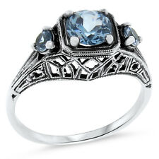 SIM AQUAMARINE ANTIQUE ART DECO STYLE .925 STERLING SILVER RING SIZE 9,  #131