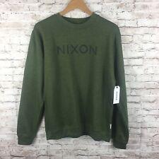 Nixon Mens Medium Green Crewneck Cotton Pullover Sweater