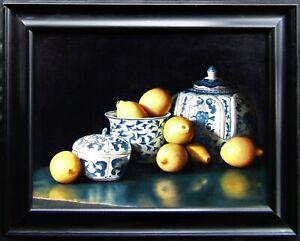 PAINSTAKINGLY DONE Lemons & Porcelain Still Life Large Framed Oil Painting NR