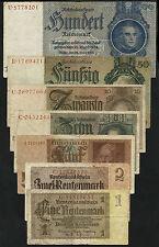 Drittes Reich Banknotensatz 1933-45  stärker Gebraucht (4) Fine