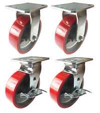 "6"" x 2""  Polyurethane on Cast Iron (Red) - 2 Rigid and 2 Swivel with Brake"