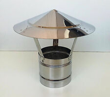 CHIMNEY COWL Stainless Steel Rain Cap Anti Down Draught INOX to fit 5'' / 125mm
