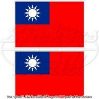 TAIWAN Republik China RoC Taiwanese Flagge, 75mm Vinyl Aufkleber x2