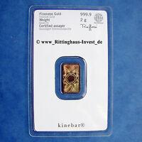 LINGOTES DE ORO 2g 2 GRAMOS kinebar HERAEUS Blister ORO 99,99 kinebarren Soldado