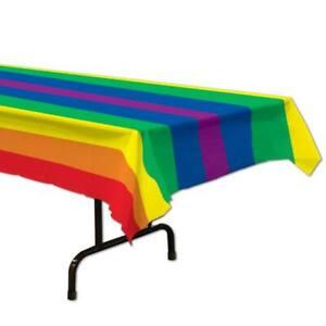 Rainbow Plastic Banquet Tablecloth Rainbow Party Decor Supplies Decorations