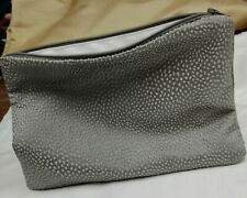make up bag, silky embroidered silver grey fabric, grey zipper with white lining