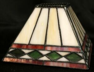 """Stained Glass Small Lampshade Pyramid 5"""" Square Geometric Southwest Multi Color"""