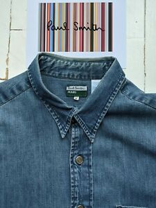 PAUL SMITH MEN'S DENIM SHIRT Size L - But will fit XXL Pit to Pit: 25 inches