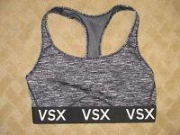 VICTORIA'S SECRET VSX Racerback Sport Bra Not Padded Gray/Blk- size Medium- EUC