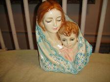 Vintage Mary & Jesus Chalkware Sculpture Statue Wall Art-Life Like Details-Large