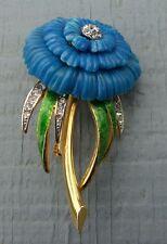 Vintage Hattie Carnegie Flower Enamel Rhinestone Signed Pendant Brooch - Cobalt