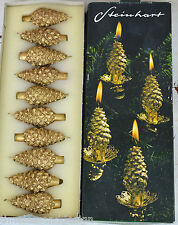 German Vintage Christmas Tree Candles in gold with glitter Holders Clip