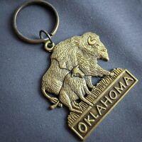Oklahoma Keychain Keyring Heavy Metal Brass Tone Buffalo Bison State