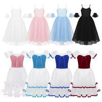 Girls Ballet Dance Dress Kids Long Skirt Party Princess Romantic Style Costume