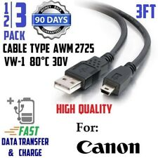"3x - 3ft 36"" MINI USB FAST Charge/Data Transfer Cable for Canon PowerShot Camera"