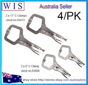 "4/PK 6"" & 11"" C-Clamp Locking Pliers with Swivel Pads Set"