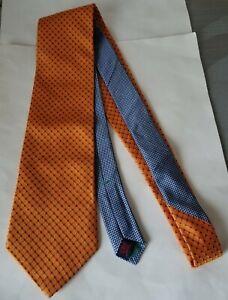 "Vintage Tommy Hilfiger 100% Silk Orange Navy Dots Blue Houndstooth Neck Tie 3.5"""