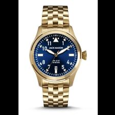 New Men's Jack Mason Aviation Bracelet Watch Gold Blue MSRP $255