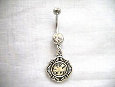 NEW FIRE DEPARTMENT SHIELD FIREFIGHTER WIFE on 14g CLEAR CZ BELLY RING BARBELL