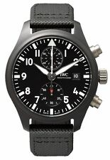 IWC Pilot Chronograph Top Gun Black Ceramic Case Leather Men Watch IW389001 New
