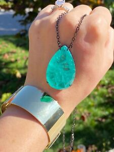 MIRACULOUS NEON GREEN LARGE 150CT COLOMBIAN EMERALD PEAR NECKLACE PENDANT LUXURY