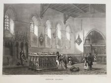 1843 Good size print; St Mary Magdalene Church, Cobham, Kent after J.D. Harding