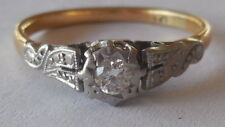 Decorative Art Deco 18ct Yellow G/Platinum ring, sz 8 (P), stamped, 2.73 grams