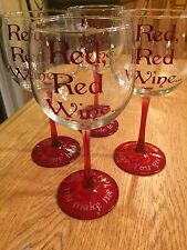 """Set Of 4 Customized Libbey Wine Glasses With Red Stem """"Red, Red Wine"""" $8 A Glass"""