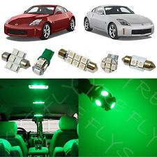 5x Green LED lights interior package kit for 2003-2008 Nissan 350z NZ2G